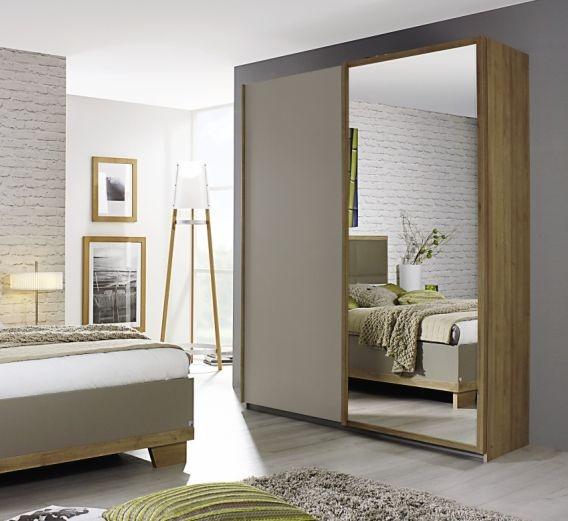Rauch Altona Riviera Oak with Fango 2 Door 1 Mirror Sliding Wardrobe - W 181cm
