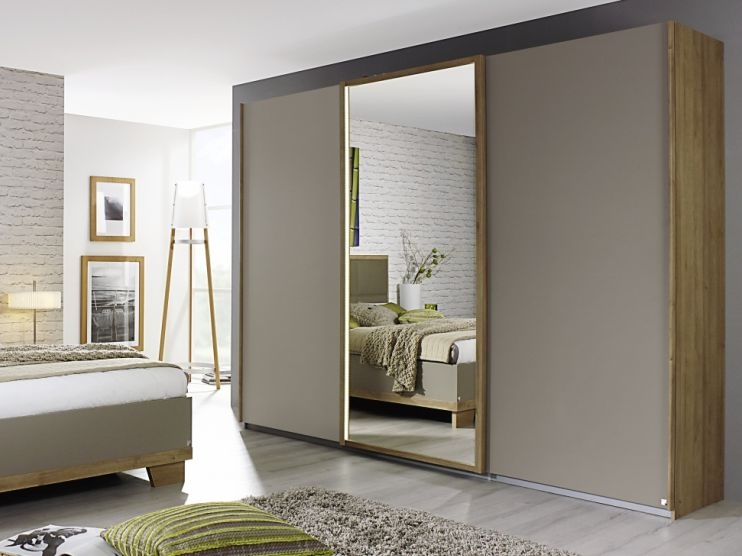Rauch Altona Riviera Oak with Fango 3 Door 1 Mirror Sliding Wardrobe - W 271cm