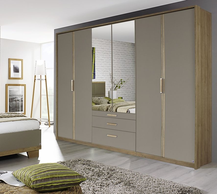 Rauch Altona Riviera Oak with Fango 4 Door 3 Drawer Wardrobe with 2 Mirror - W 181cm