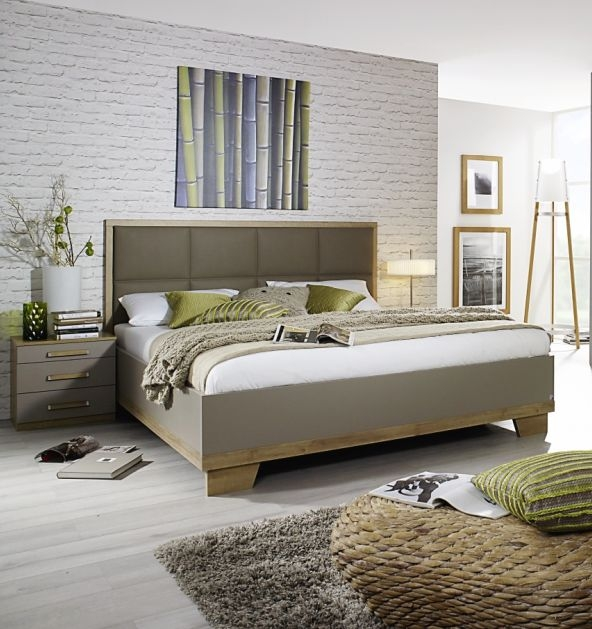 Rauch Altona 5ft King Size Faux Leather Padded Bed in Riviera Oak and Fango - 150cm x 200cm