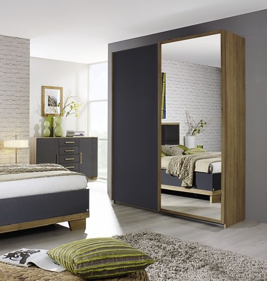 Rauch Altona Riviera Oak with Metallic Grey 2 Door 1 Mirror Sliding Wardrobe - W 181cm