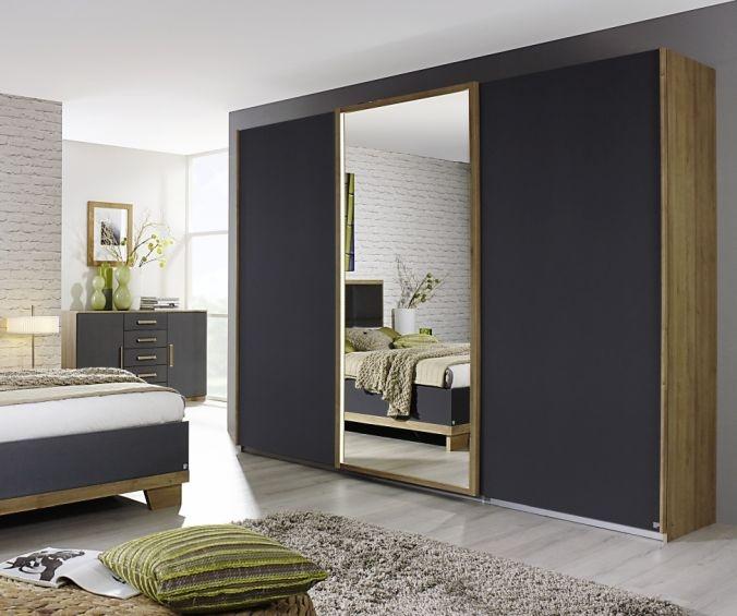 Rauch Altona Riviera Oak with Metallic Grey 3 Door 1 Mirror Sliding Wardrobe - W 271cm
