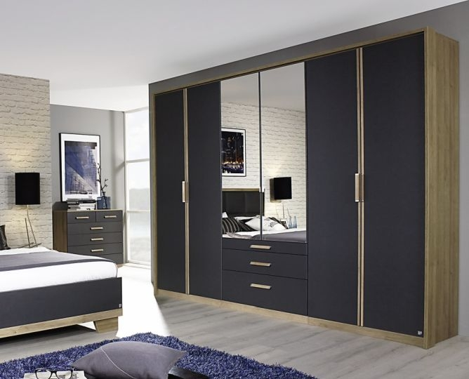 Rauch Altona 4 Door 3 Drawer 2 Mirror Combi Wardrobe in Riviera Oak and Metallic Grey - W 181cm