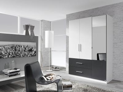 Rauch Alvor 3 Door Combi Wardrobe in White and Metallic Grey - W 136cm