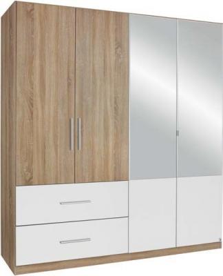 Rauch Alvor 4 Door Combi Wardrobe in Oak and White - W 181cm