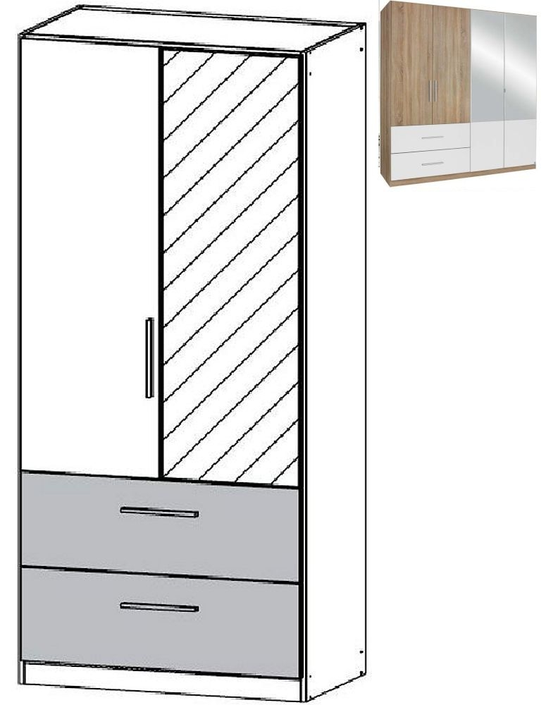Rauch Alvor 2 Door 1 Mirror 2 Drawer Combi Wardrobe in Sanremo Oak Light and Alpine White - W 91cm