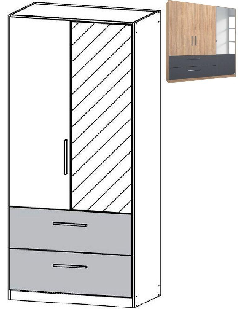 Rauch Alvor 2 Door 1 Mirror 2 Drawer Combi Wardrobe in Sonoma Oak and Metallic Grey - W 91cm