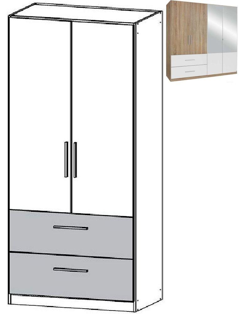 Rauch Alvor 2 Door 2 Drawer Combi Wardrobe in Sanremo Oak Light and Alpine White - W 91cm