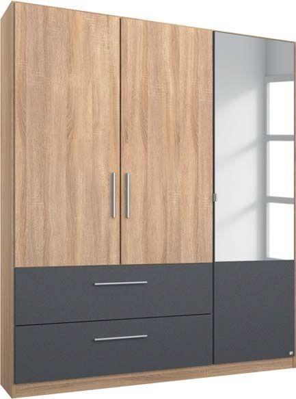 Rauch Alvor 3 Door 1 Mirror 2 Drawer Combi Wardrobe in Sonoma Oak and Metallic Grey - W 136cm