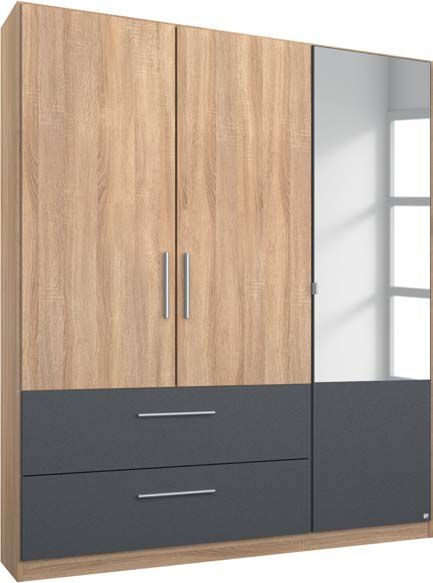 Rauch Alvor 3 Door Combi Wardrobe in Sonoma Oak and Metallic Grey - W 136cm