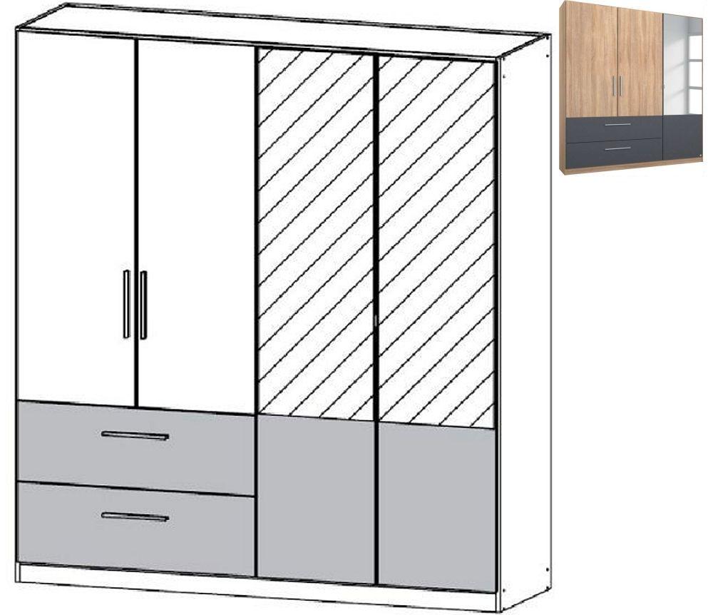 Rauch Alvor 4 Door 2 Mirror 2 Drawer Combi Wardrobe in Sonoma Oak and Metallic Grey - W 181cm