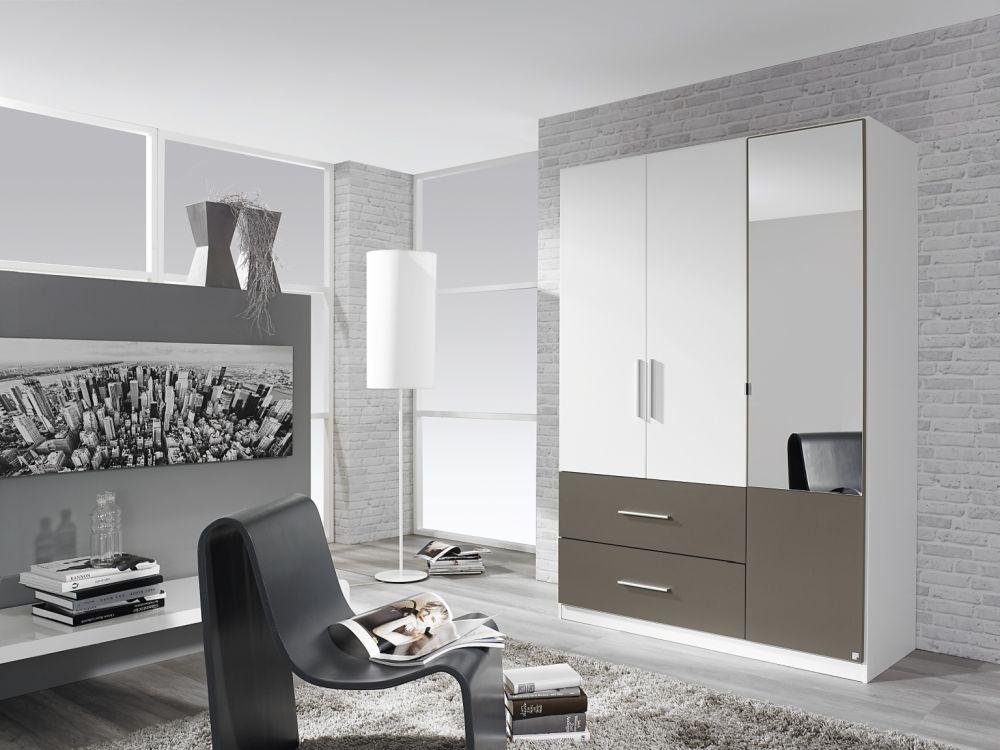 Rauch Alvor Alpine White with Lava Grey 3 Door 2 Drawer 1 Mirror Door Combi Wardrobe - W 136cm
