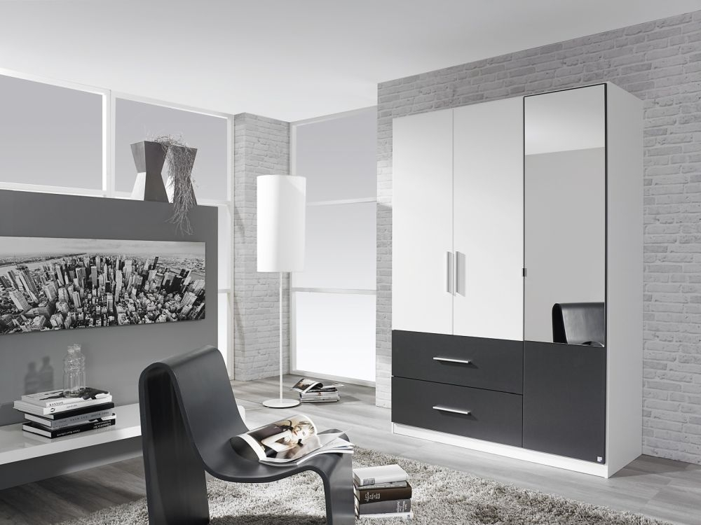 Rauch Alvor Alpine White with Metallic Grey 2 Door 2 Drawer Combi Wardrobe - W 91cm
