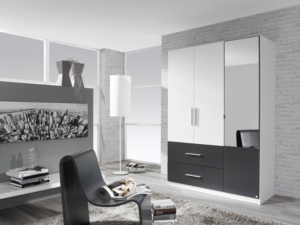 Rauch Alvor Alpine White with Metallic Grey 4 Door 2 Drawer 2 Mirror Door Combi Wardrobe - W 181cm