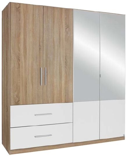 Rauch Alvor 4 Door 2 Drawer 2 Mirror Combi Wardrobe in Oak and Alpine White - W 181cm