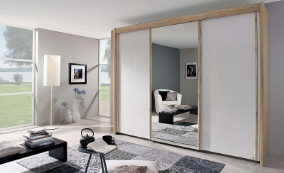 Rauch Amalfi 3 Door Mirror Sliding Wardrobe in Oak and Silk Grey - W 300cm
