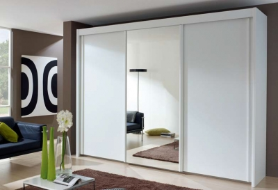 Rauch Amalfi 3 Door Mirror Sliding Wardrobe in White - W 300cm