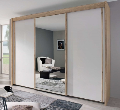 Rauch Amalfi Color Glass Sliding Wardrobe with Carcase Color Handle Strip