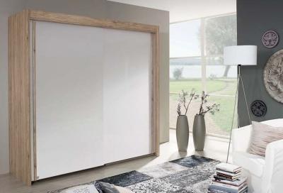 Rauch Amalfi Wood Decor Sliding Wardrobe with Carcase Color Handle Strip