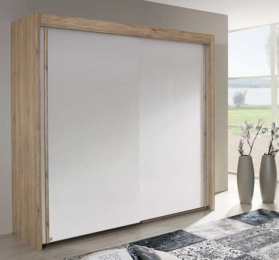Rauch Amalfi 2 Door Silding Wardrobe in Sanremo Oak Light with Alpine White - W 151cm H 235cm