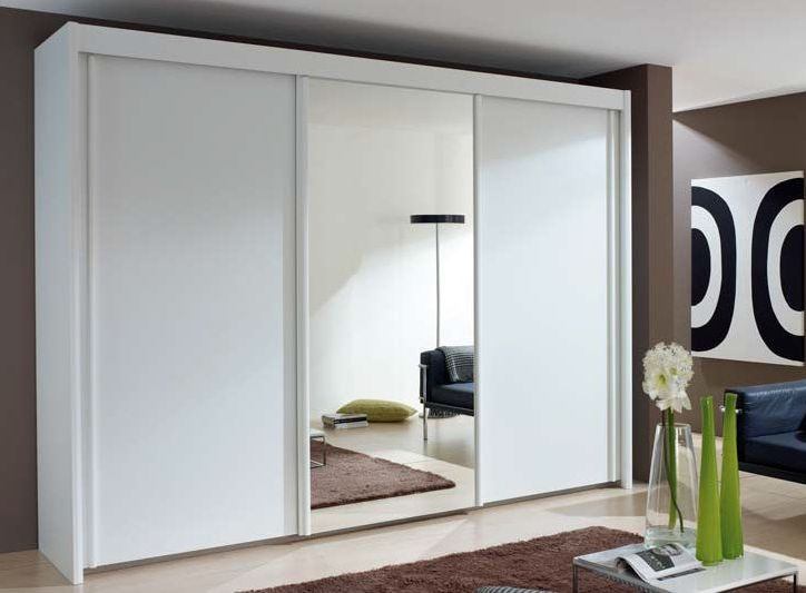 Rauch Amalfi 3 Door 1 Mirror Silding Wardrobe in Alpine White - W 225cm H 235cm
