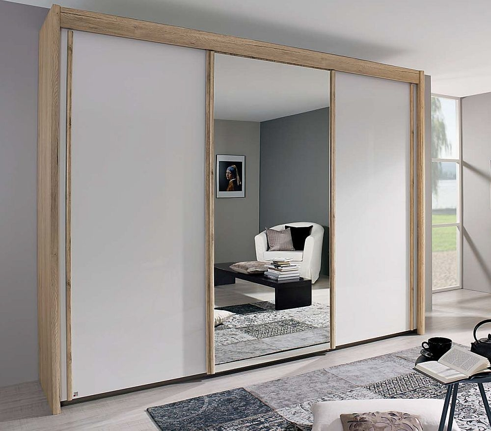Rauch Amalfi 3 Door 1 Mirror Silding Wardrobe in Sonoma Oak and Alpine White - W 300cm H 223cm