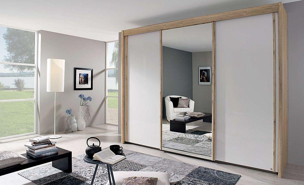 Rauch Amalfi 3 Door Mirror Silding Wardrobe in Oak and Silk Grey - W 300cm
