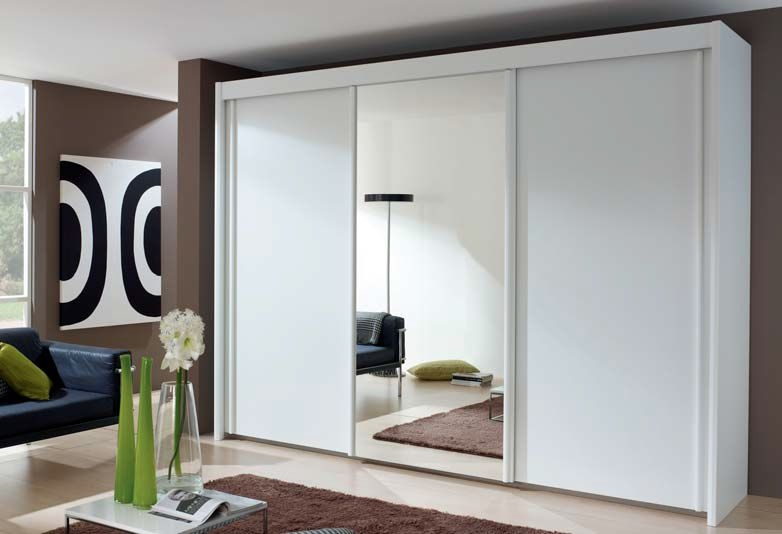 Rauch Amalfi Mirror Sliding Wardrobe with Carcase Color Handle Strip