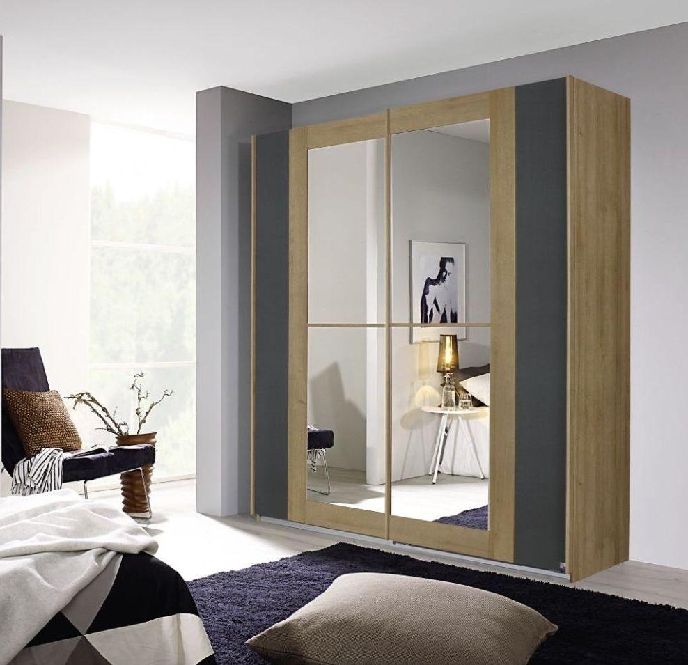Rauch Amberg 2 Door Sliding Wardrobe in Oak and Metallic Grey - W 181cm