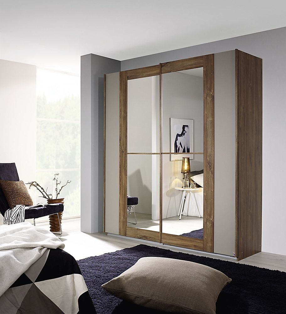 Rauch Amberg 2 Door Sliding Wardrobe in Stirling Oak and White - W 181cm