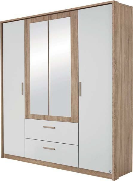 Rauch Amberg 4 Door Combi Wardrobe in Oak and White - W 181cm