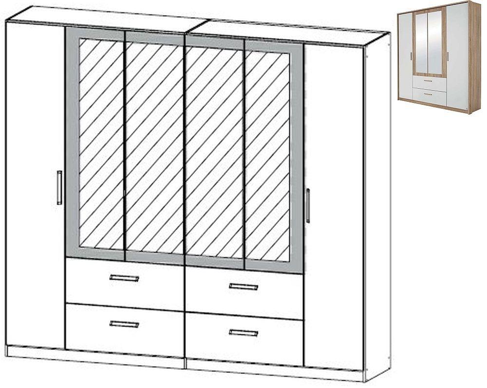 Rauch Amberg 6 Door 4 Mirror 4 Drawer Combi Wardrobe with Passepartout in Sonoma Oak and Alpine White - W 271cm