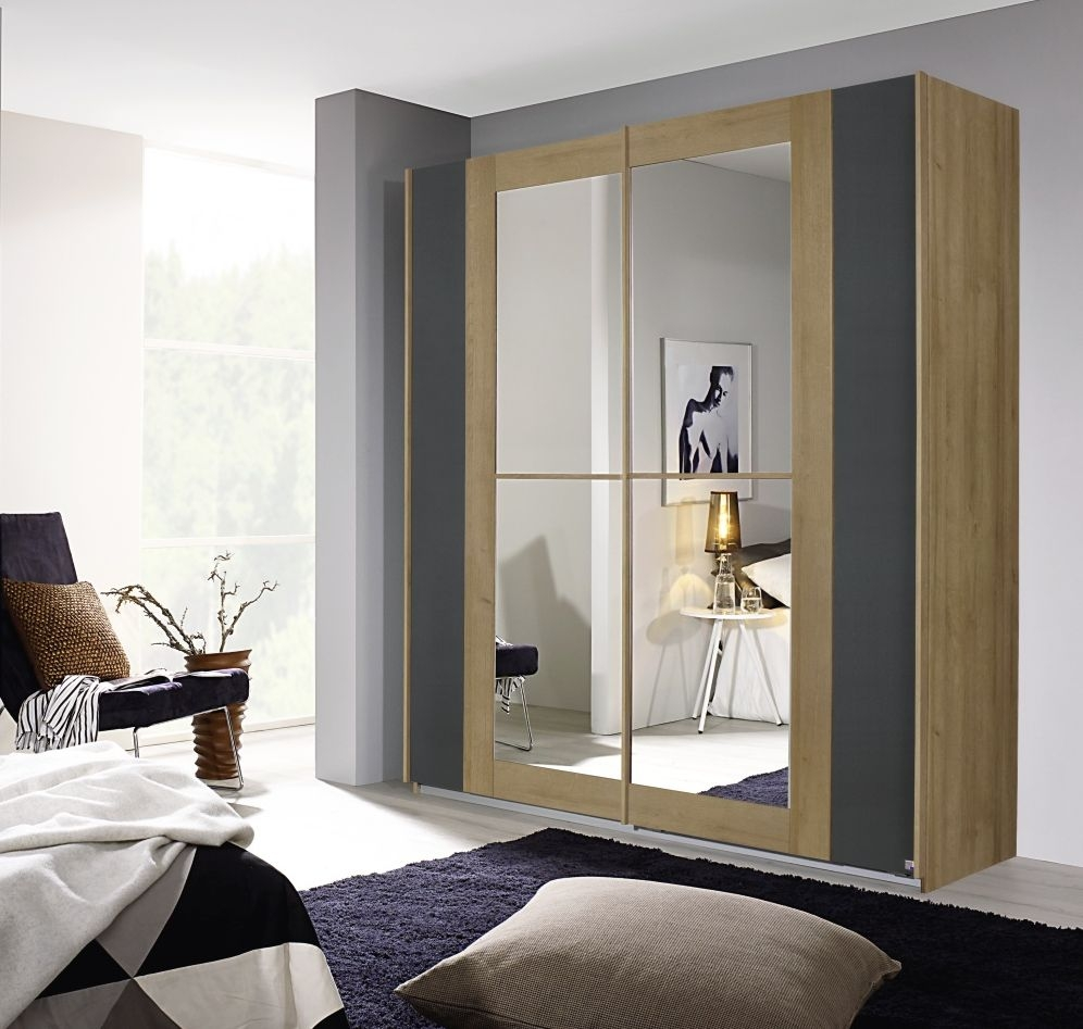 Rauch Amberg Riviera Oak with Metallic Grey 2 Door Sliding Wardrobe with Mirror - W 181cm
