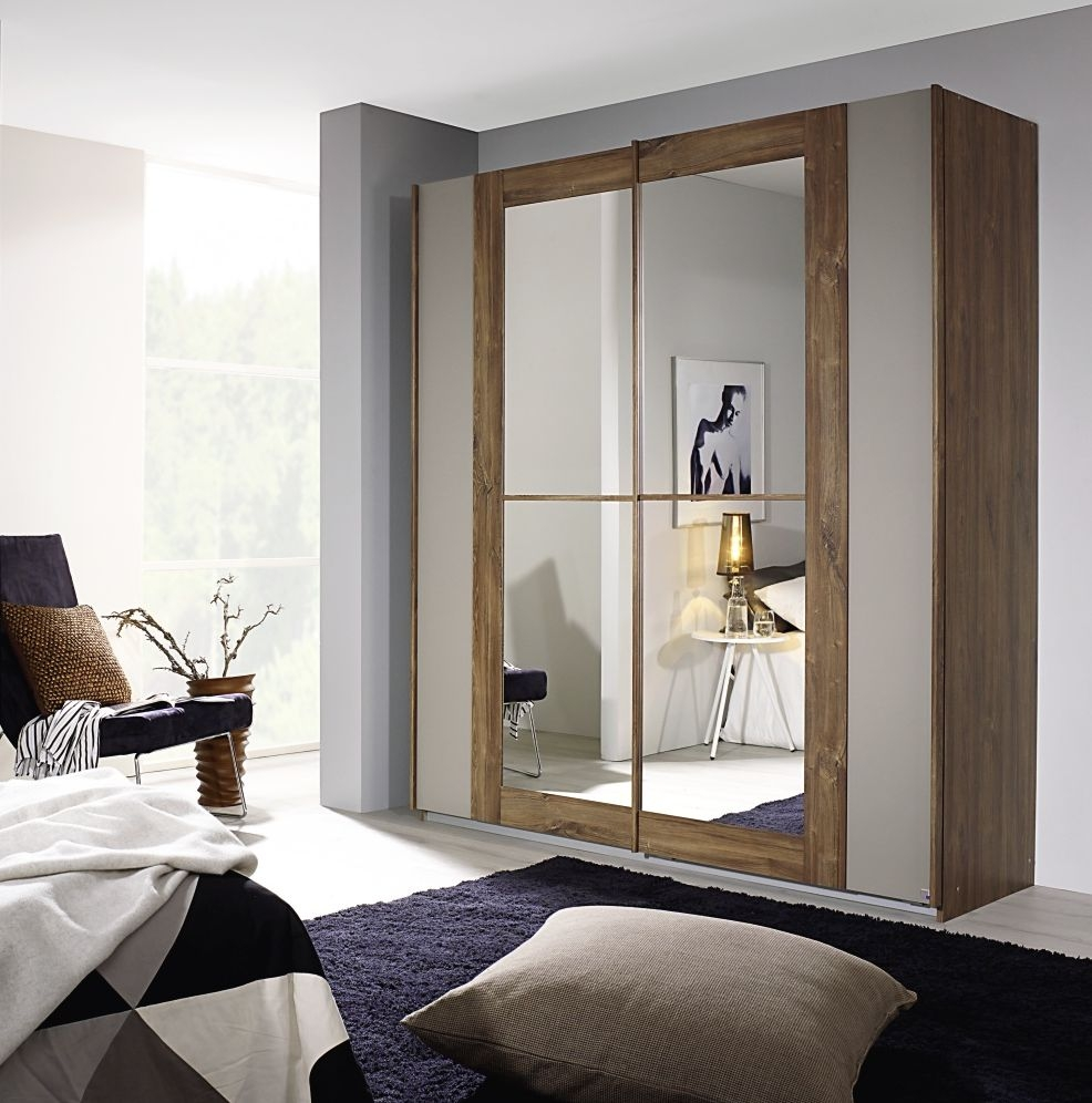 Rauch Amberg Stirling Oak with Fango 2 Door Sliding Wardrobe with Mirror - w 181cm