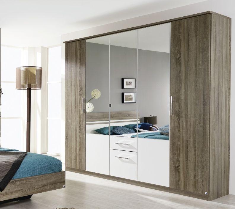 Rauch Arles Havana Oak with Alpine White 5 Door 2 Drawer 3 Mirror Combi Wardrobe with Cornice - W 226cm