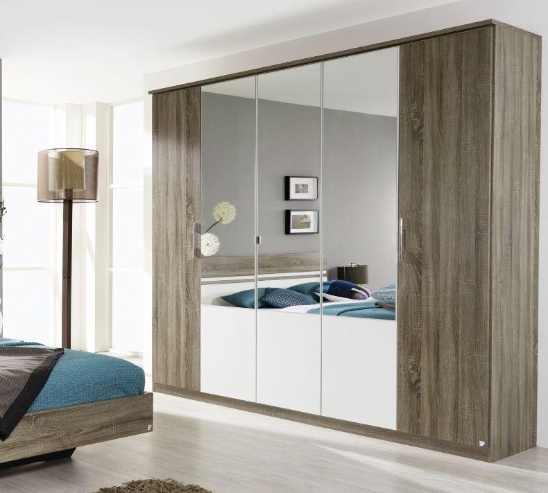 Rauch Arles Havana Oak with Alpine White 6 Door 4 Mirror Wardrobe with Cornice - W 271cm