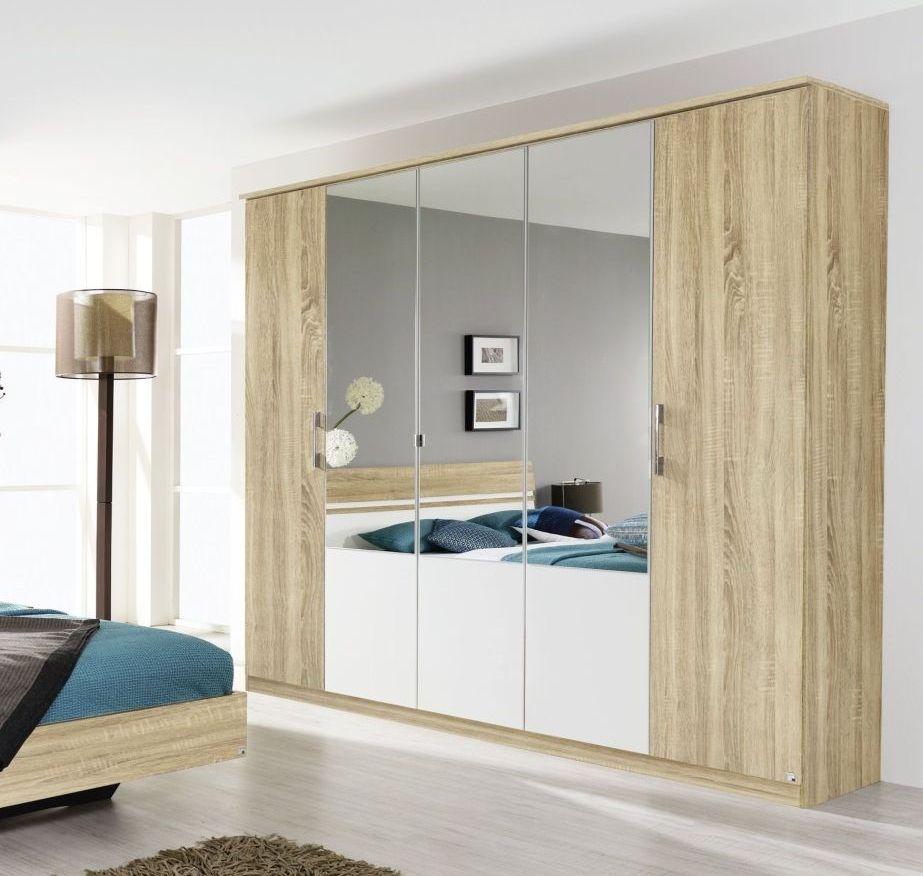 Rauch Arles 3 Door 1 Mirror Wardrobe with Cornice in Sonoma Oak and Alpine White - W 136cm