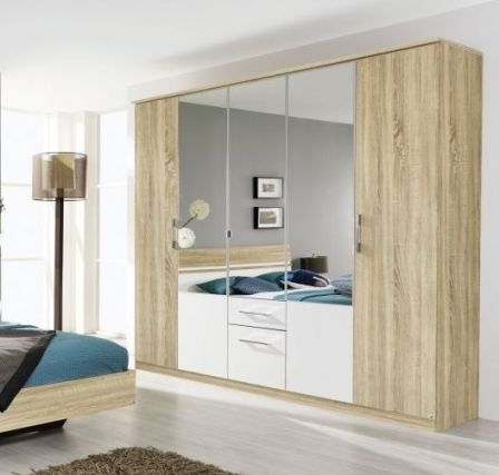 Rauch Arles 5 Door 2 Drawer 3 Mirror Combi Wardrobe with Cornice in Sonoma Oak and Alpine White - W 226cm H 212cm