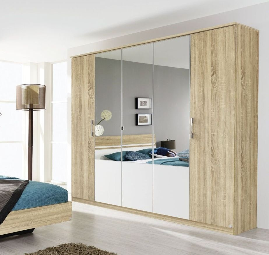 Rauch Arles 5 Door 3 Mirror Wardrobe with Cornice in Sonoma Oak and Alpine White - W 226cm