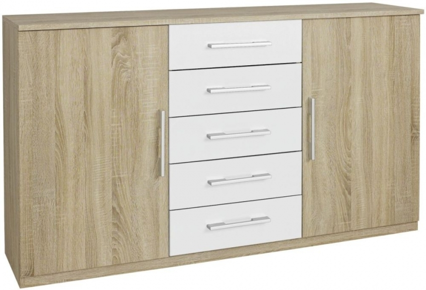 Rauch Arles 1 Door 5 Drawer Combi Chest in Sonoma Oak and Alpine White