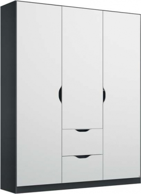 Rauch Arnstein 3 Door Wardrobe in Metallic Grey and White - W 136cm