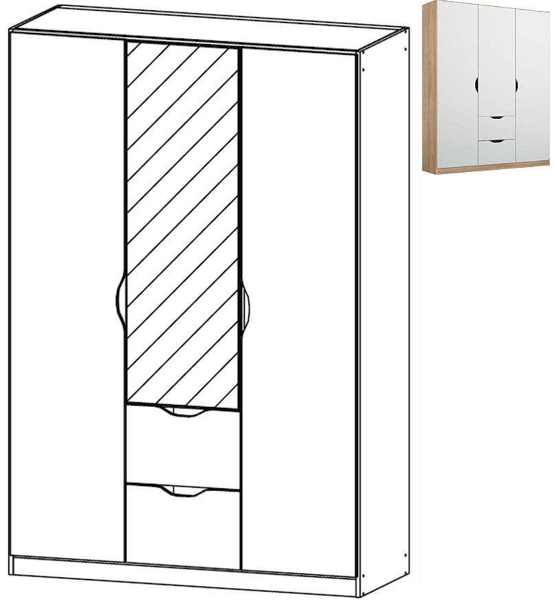 Rauch Arnstein 3 Door 1 Mirror 2 Drawer Combi Wardrobe in Sonma Oak and White