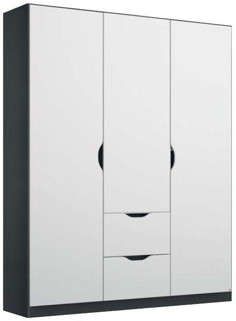 Rauch Arnstein 3 Door 2 Drawer Combi Wardrobe in Metallic Grey and White
