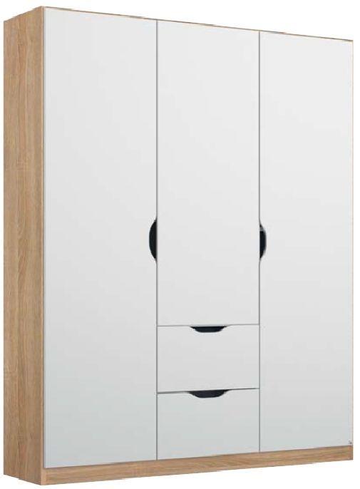 Rauch Arnstein 3 Door 2 Drawer Combi Wardrobe in Sonma Oak and White