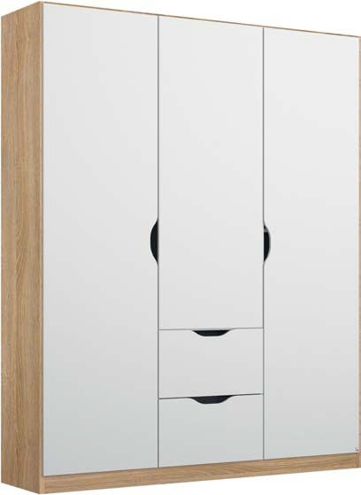 Rauch Arnstein 3 Door Wardrobe in Oak and White - W 136cm