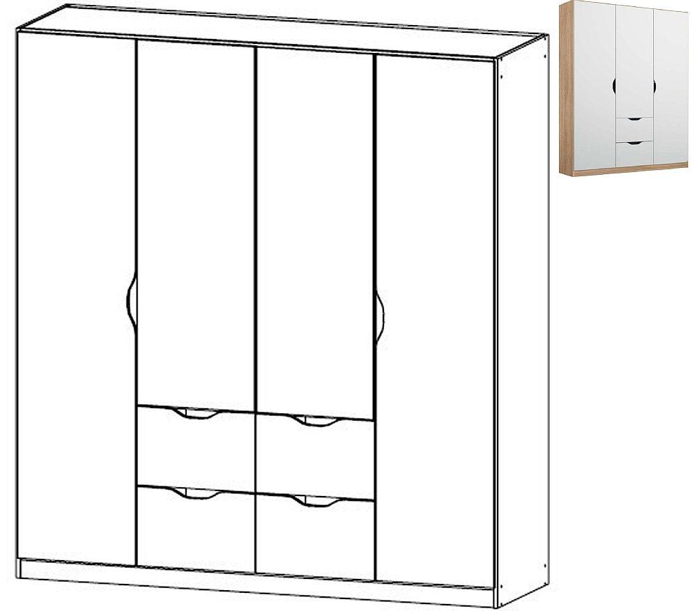 Rauch Arnstein 4 Door 4 Drawer Combi Wardrobe in Sonma Oak and White