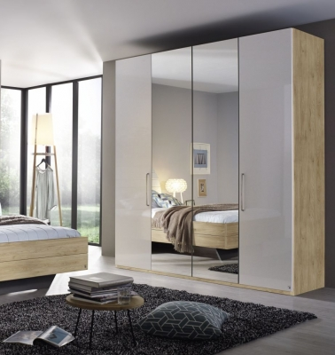 Rauch Balis 4 Door Folding Wardrobe in Oak and High Gloss White - W 201cm
