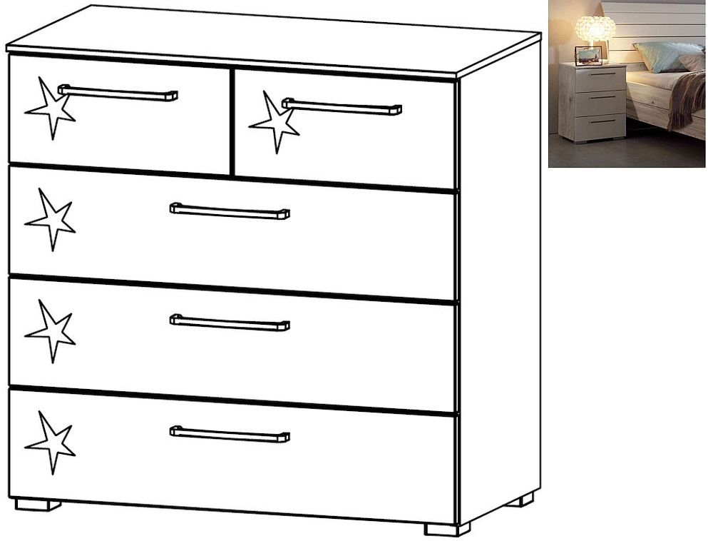 Rauch Balis 2+3 Drawer Chest in Jackson Hickory and High Gloss Soft Grey