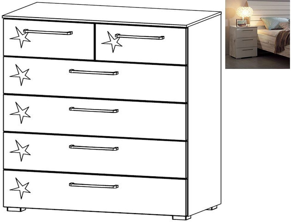 Rauch Balis 2+4 Drawer Chest in Jackson Hickory and High Gloss Soft Grey