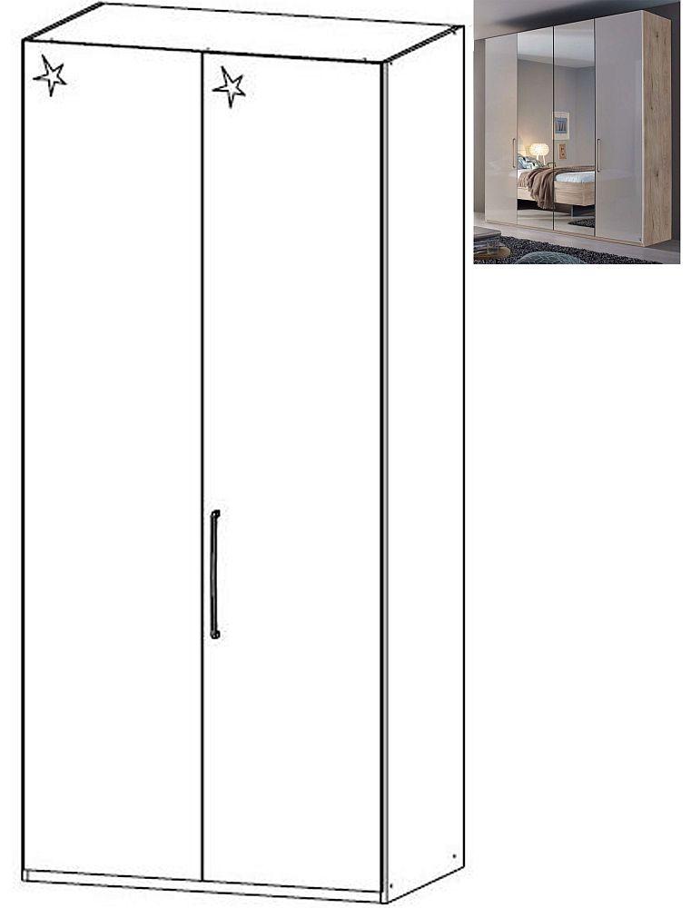 Rauch Balis 2 Door Folding Wardrobe in Jackson Hickory and High Gloss Soft Grey - W 101cm